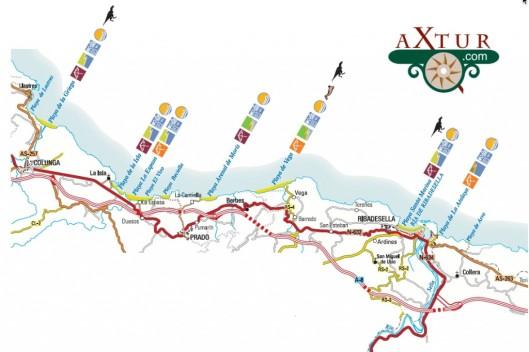 mapa-playas-colunga-ribadesella-picos-de-europa